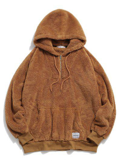 ZAFUL Solid Raglan Sleeve Fluffy Hoodie - Coffee M