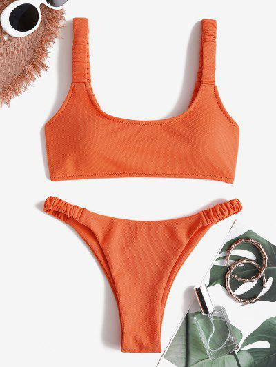 ZAFUL Textured Elastic Ruched Strap Tank Bikini Swimwear - Orange L