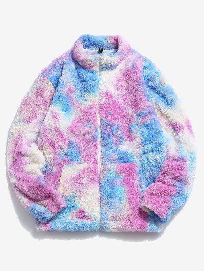 Tie Dye Pattern Zip Up Fluffy Faux Fur Jacket - Deep Sky Blue 2xl