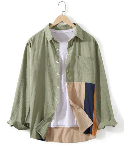 Button Down Colorblock Front Pocket Shirt - Dark Sea Green 3xl