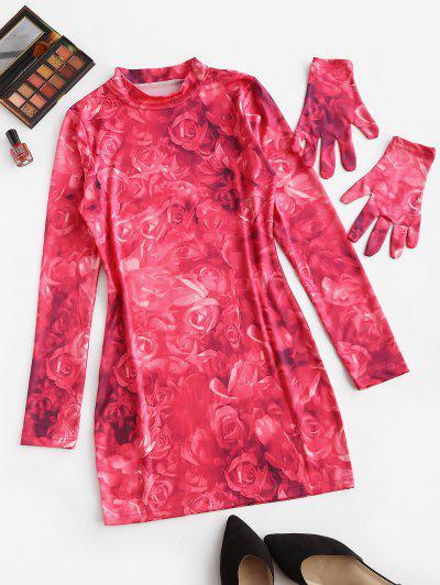 Krawattenfärbendes Blumen Langarm Bodycon Kleid - Hell-pink M
