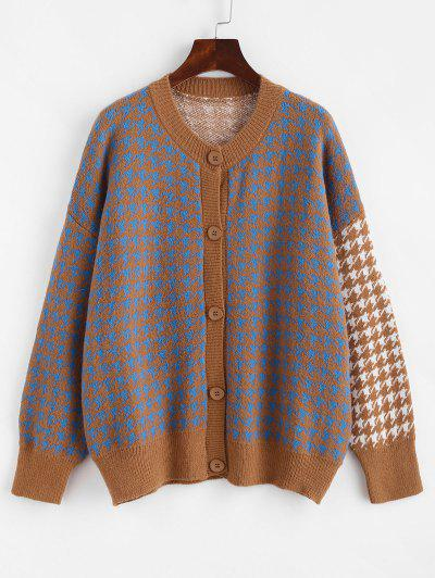 Crew Neck Button Up Houndstooth Cardigan - Multi-a
