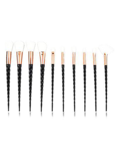 10Pcs Twist Handle Makeup Brush Set - Black