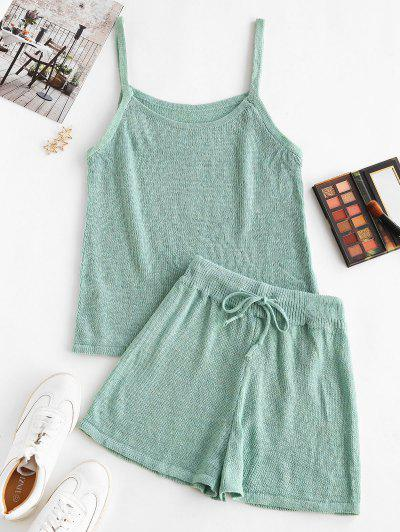 Knitted Cami Two Piece Shorts Set - Light Green M