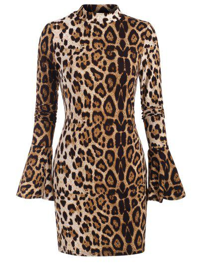 Leopard Mock Neck Long Sleeve Bodycon Dress - Coffee S