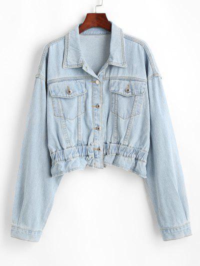 Drop Shoulder Pocket Peplum Denim Jacket - Light Blue M