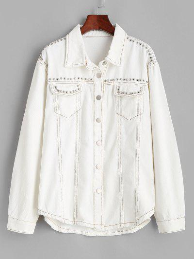 Rivet Pocket Contrast Stitching Denim Jacket - White Xs