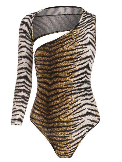 Tiger Print Open Back Bodysuit - Coffee M