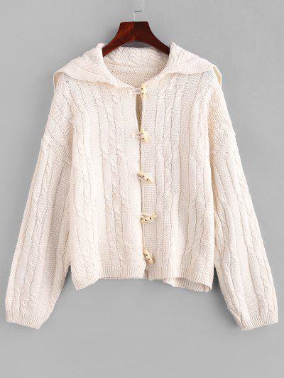Drop Shoulder Cable Knit Horn Button Cardigan - Warm White