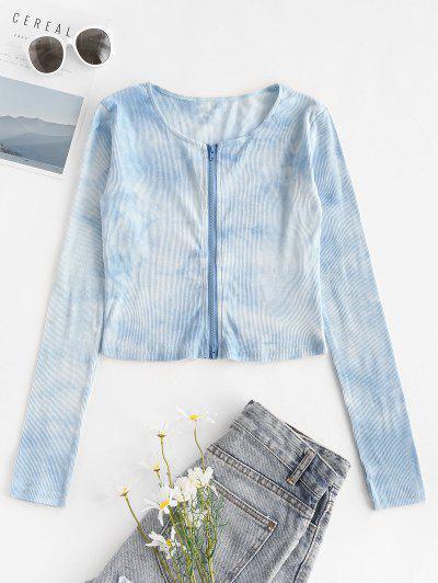 Zip Up Ribbed Tie Dye Tee - Blue S