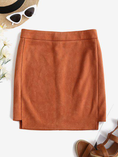 Faux Suede Bodycon Mini Skirt - Tiger Orange L