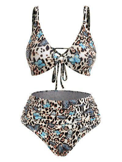 ZAFUL Plus Size Ribbed Leopard Butterfly Ruched Bikini Swimwear - Multi Xl
