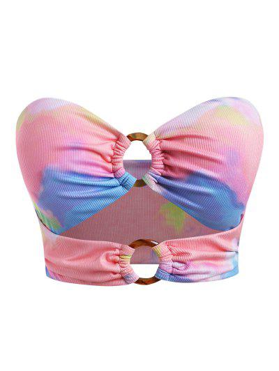 ZAFUL Plus Size Tie Dye O Ring Underboob Ribbed Bikini Top - Multi Xxl