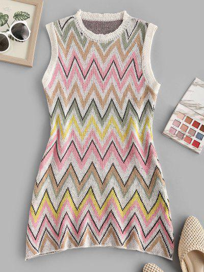 Zigzag Tunic Sweater Tank Dress - Multi L