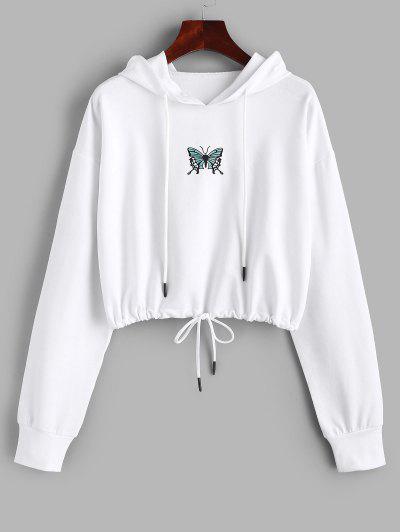 Drawstring Butterfly Print Crop Hoodie - White S