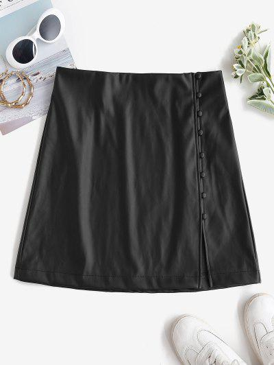 ZAFUL Faux Leather Loop Button Mini Skirt - Black M