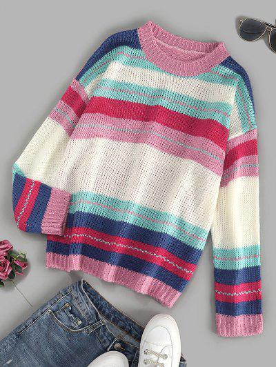 Colorful Striped Drop Shoulder Jumper Sweater - Multi