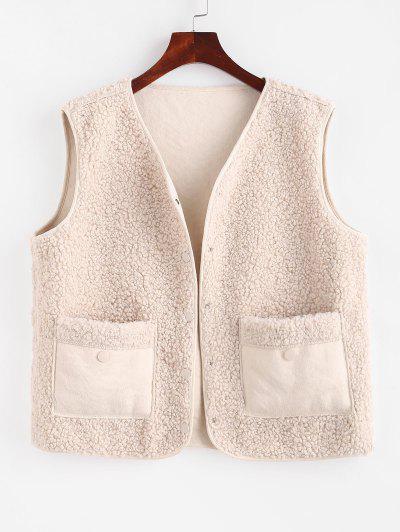 Faux Sheepskin Lined Snap Button Teddy Waistcoat - White L