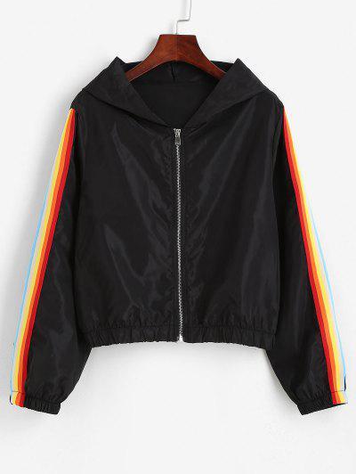 Kapuze Regenbogen Gestreifte Reißverschluss Jacke - Schwarz M