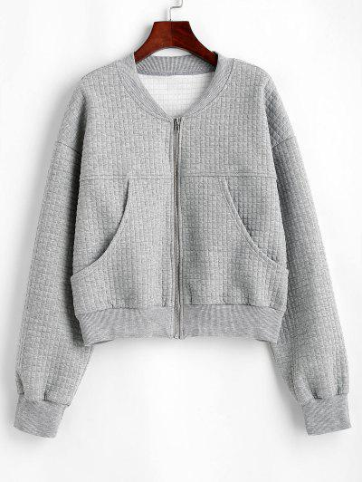 Drop Shoulder Pocket Zip Up Jacket - Light Gray M