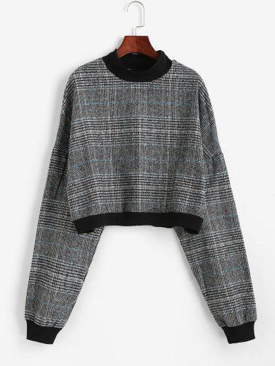 Plaid Print Batwing Sleeve Cropped Sweatshirt - Gray S