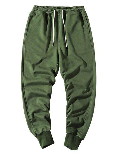Elastic Waist Solid Jogger Sweatpants - Army Green Xs