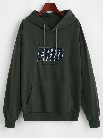 Embroidered Front Pocket Oversize Hoodie - Gray L