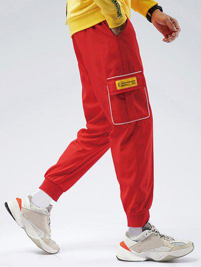 Striped Flap Pocket Patch Beam Feet Pants - Red Xs