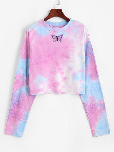 Tie Dye Print Butterfly Embroidered Sweatshirt - Multi L