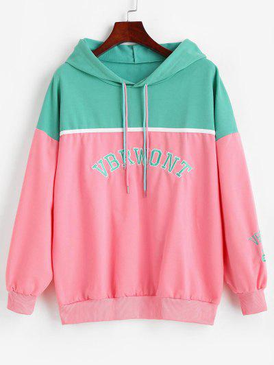 Letter Embroidered Colorblock Oversize Hoodie - Multi-a L