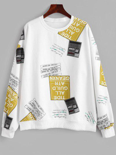 Crew Neck Letter Graphic Oversize Sweatshirt - White L