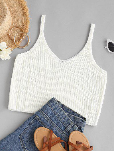 V Neck Crop Sweater Tank Top - White