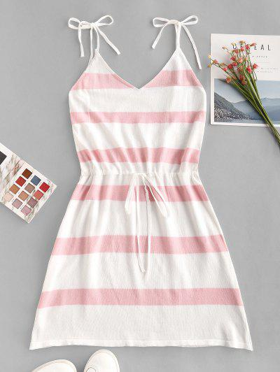 Two Tone Striped Tied Drawstring Knit Dress - White S