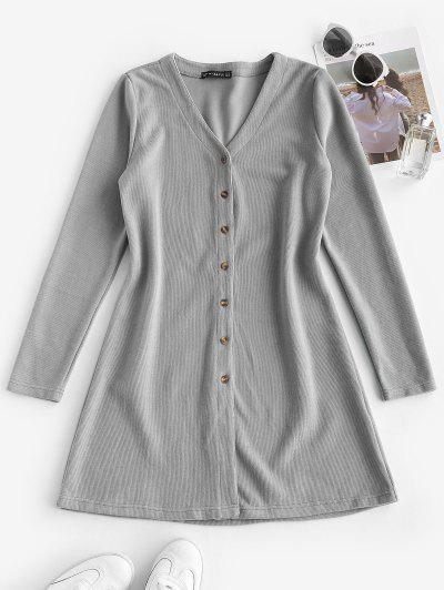Button Up Ribbed Dress
