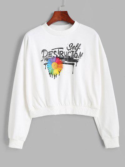 Mock Neck Splatter Letter Floral Graphic Sweatshirt - White M