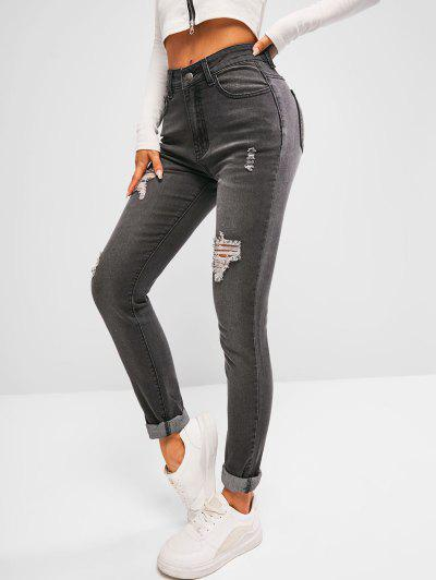 High Waisted Distressed Faded Skinny Jeans - Black S