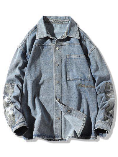 Camouflage Patchwork Denim Jacket - Blue Xl