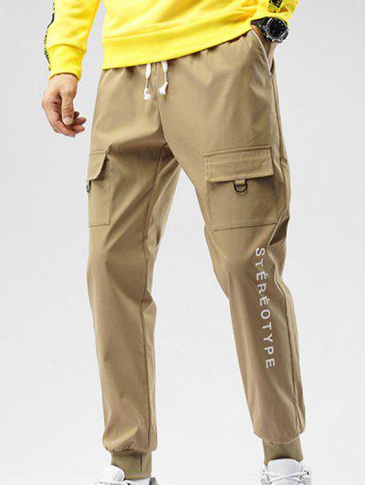 Calças De Cintura Elástica Com Impressão De Letra Para Homens - Cor De Caqui M