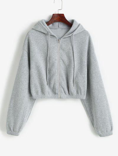 ZAFUL Drop Shoulder Cropped Jacket - Ash Gray S