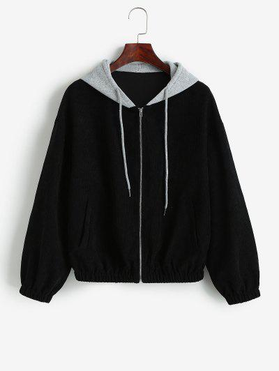 ZAFUL Hooded Colorblock Corduroy Jacket - Black S