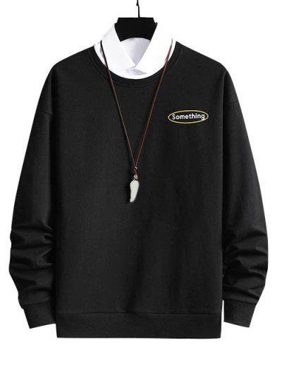 Crewneck 2 In 1 Put In Something Graphic Sweatshirt - Black S