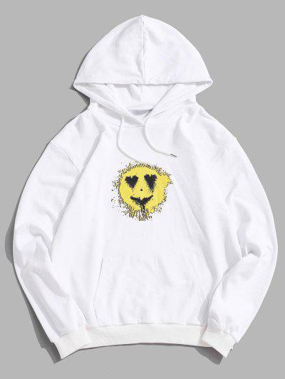 Love Heart Smiling Face Happy Pattern Hoodie - White S