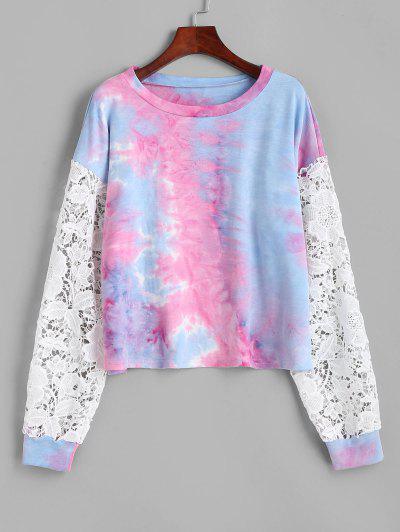 Tie Dye Print Flower Lace Insert Sweatshirt - Multi L