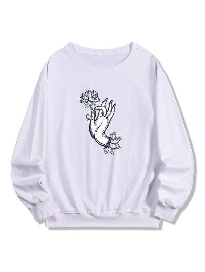 Flower Hand Print Pullover Sweatshirt - White 2xl