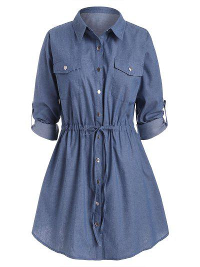 Plus Size Roll Sleeve Chambray Snap Button Shirt Dress - Blue 5x