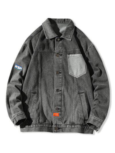 Letter Pocket Patch Jean Jacket - Black Xl