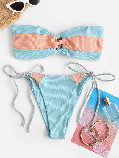 ZAFUL Ribbed Colorblock Braided Bow Bandeau Bikini Swimwear - Light Blue S