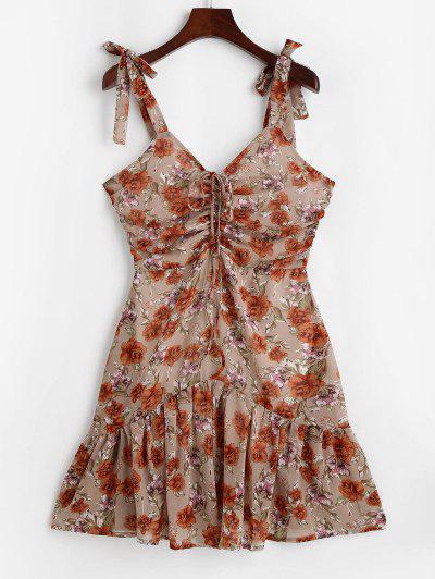 Flower Tie Shoulder Cinched Flounce Hem Dress - Light Coffee S