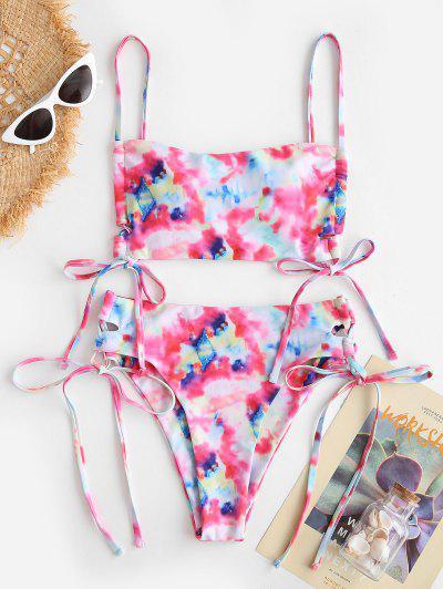 ZAFUL Tie Dye Side Lace-up Tankini Swimwear - Pink 2xl
