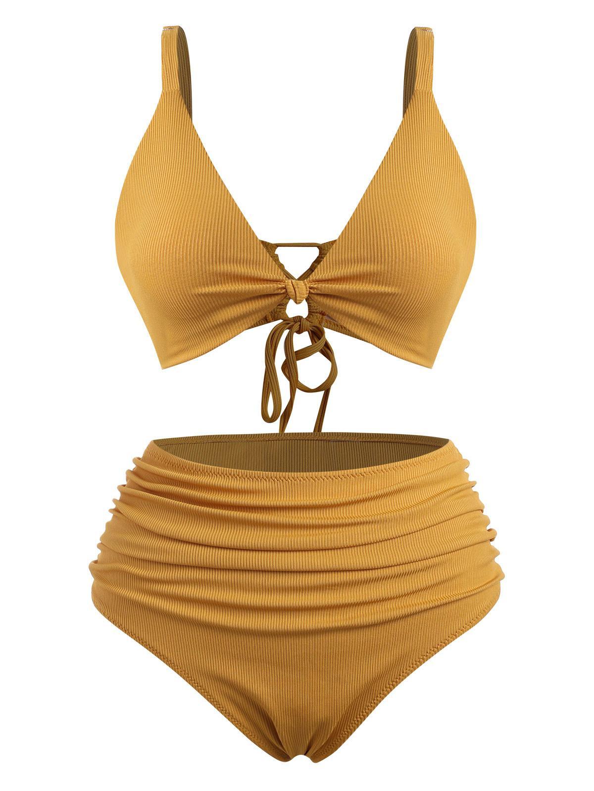 ZAFUL Plus Size Ribbed Knot Ruched Bikini Swimwear